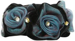 Caravan Black Velvet And Voile Fabric Rose Elastic Ponytail