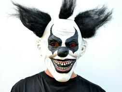 Scary Halloween Clown Mask with Hair Costume Party Black & W