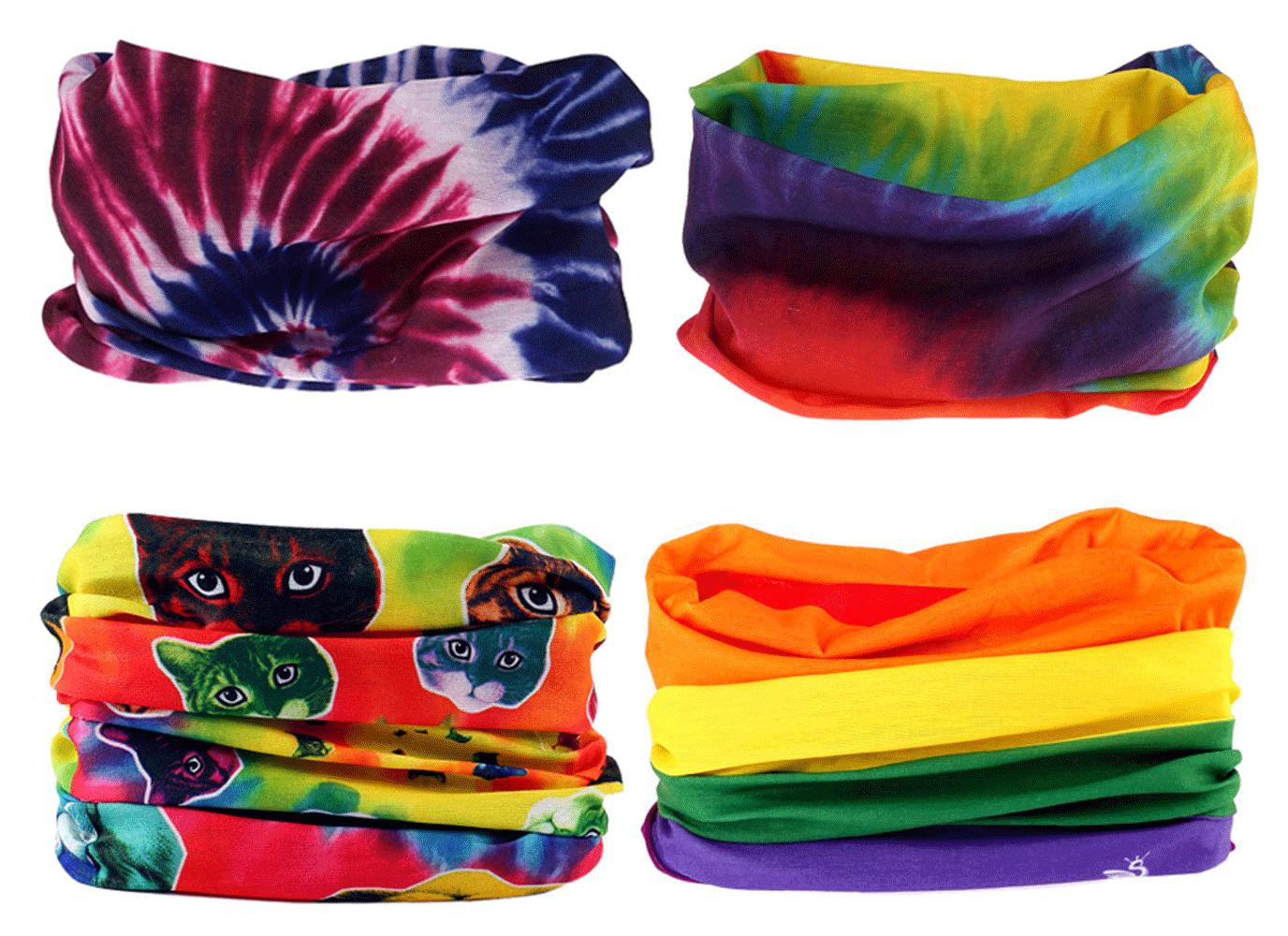 4pc tie dye rave headband hair band