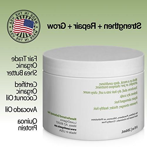 Organic Deep Conditioner Mask: Moisturizing Smooth Manageable Oil Treatment Repairs Dry Hair. for or Treated Hair.