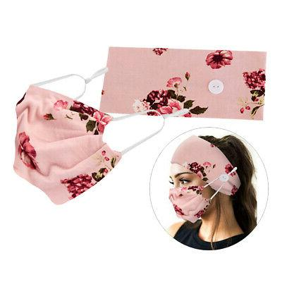 button headbands with facemask stretchy hair band