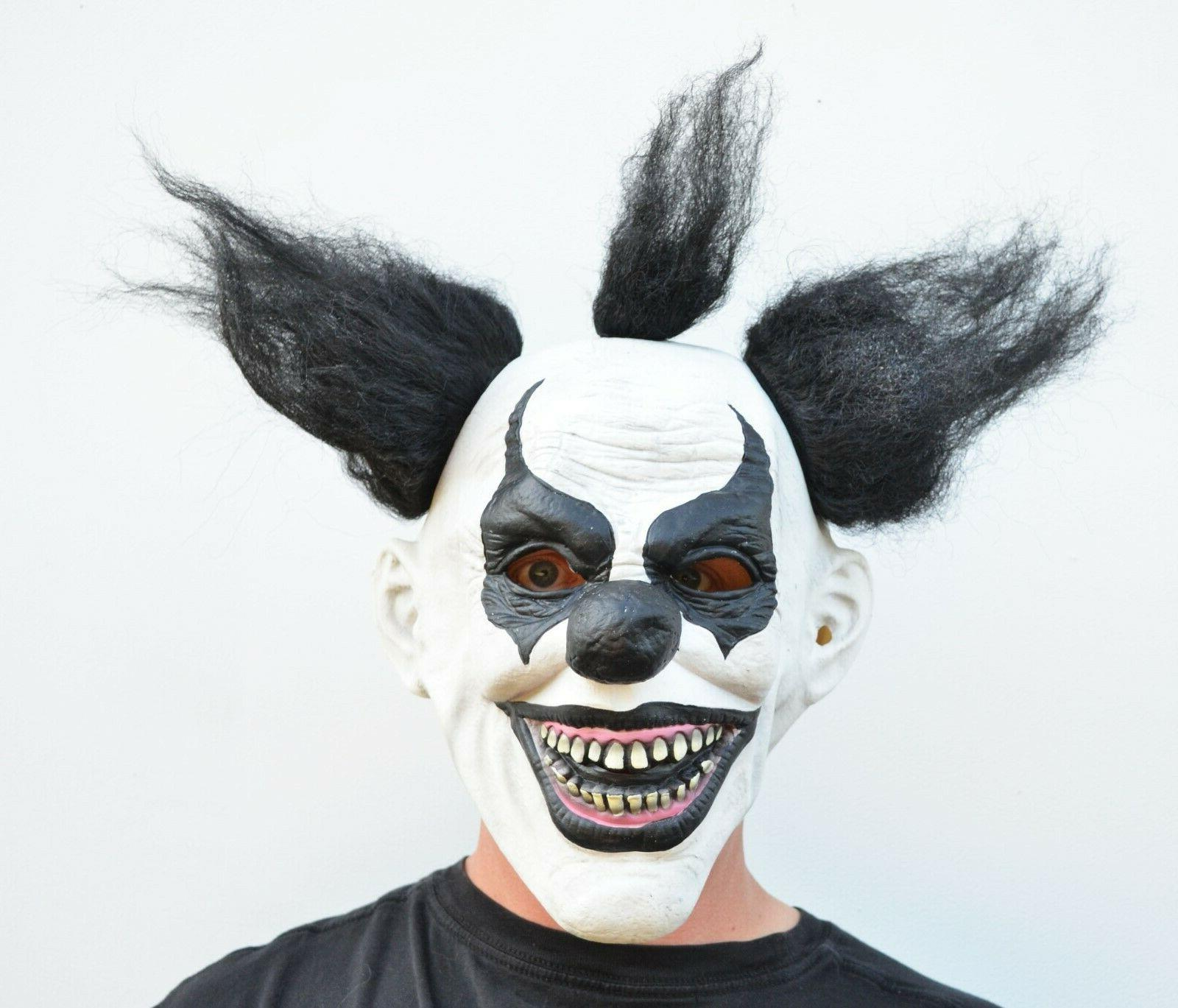 Scary Halloween Mask with Hair Costume Black