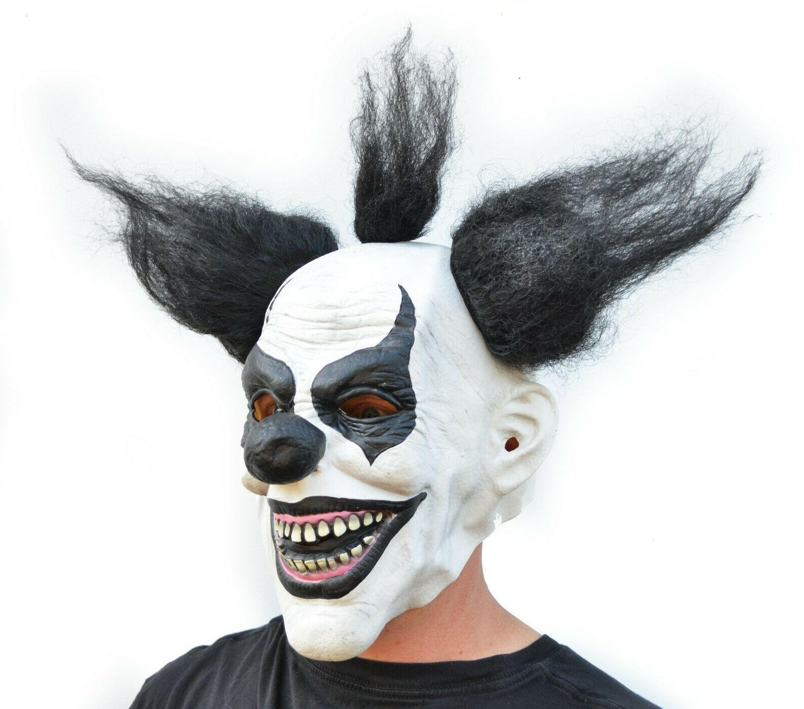 Scary Clown Mask with Hair Black &