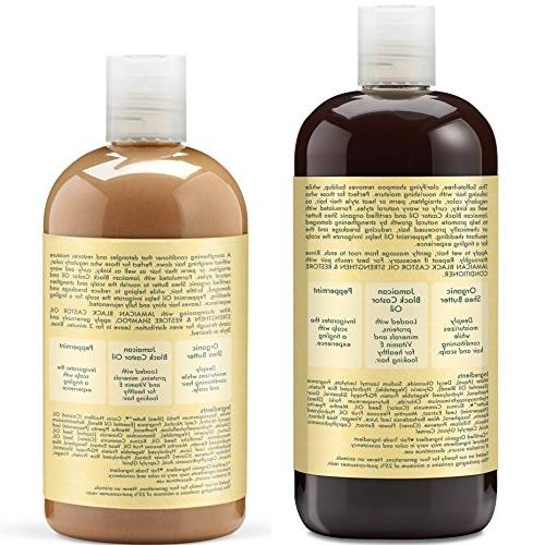 Shea Strengthen Grow & Includes 16.3 Jamaican Black Oil Shampoo 16 Leave-In Ounce Conditioner | 12 Ounce Masque