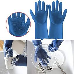 Tpingfe Magic Reusable Silicone Gloves Cleaning Brush Scrubb