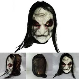 Mens Long Black Hair Latex Mask Zombie Scary Halloween Fancy