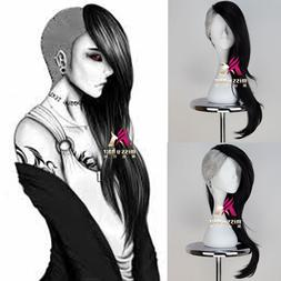 Tokyo Ghoul Uta Mask Maker Long Wavy Black and Silvery Anime