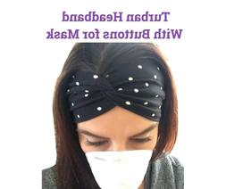 Womens Headband With Buttons Face Mask Nurses/Doctors Turban