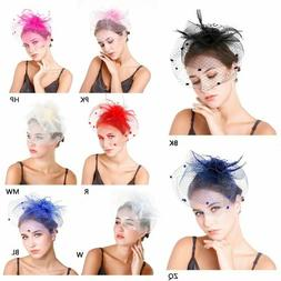Veil Mask Women Fashion Headband Hair Clip Mesh Feather Flow